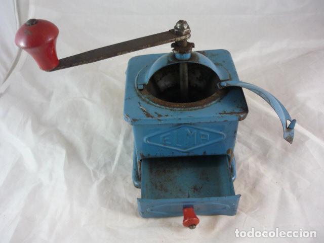 Antigüedades: Molinillo Cafe Elma - Metal Azul - Foto 6 - 139178062