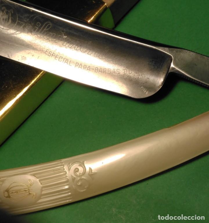 Antigüedades: ESPECIAL BARBAS DURAS FILARMONICA 14 navaja afeitar o barbero, straight razor, Rasoio - Foto 6 - 139587182