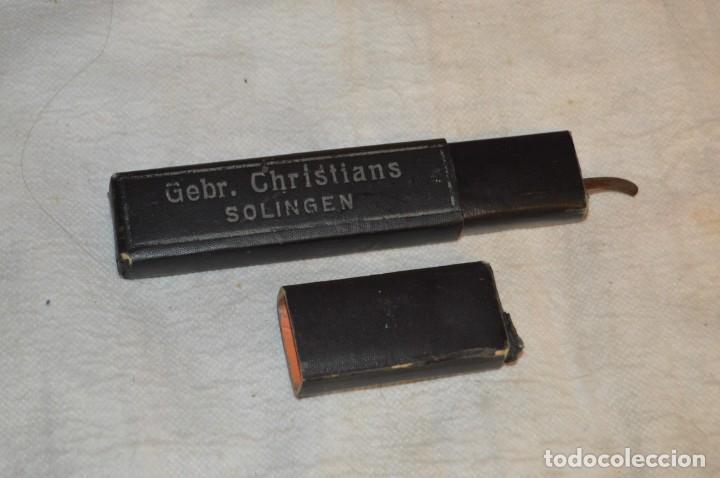 Antigüedades: JOYA - ANTIGUA NAVAJA DE AFEITAR - NEGRA - CHRISTIANS SOLINGEN - 29 1/2 - 5/8 - EN CAJA - ENVÍO 24H - Foto 12 - 140035190
