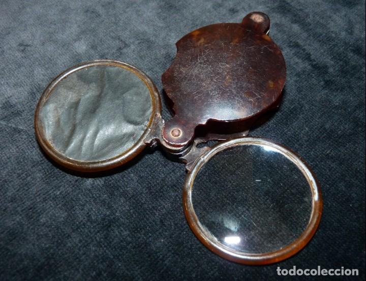 Antigüedades: ANTIGUA LUPA Y ESPEJO DE BOLSILLO. CELULOIDE IMITACIÓN CAREY. 7x4,7 cm. AÑOS 20. PLEGABLE. LENTE - Foto 3 - 140556666