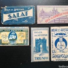 Antigüedades: 5 HOJAS DE AFEITAR - SALAT, LOS MADRILEÑOS EL CAMELLO, UNA PESETA SANTA MARIA, TRIUNFO, EL PARAGUAS. Lote 140707417