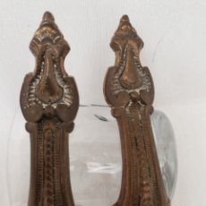 Antigüedades: PAR ASAS TIRADORES BRONCE. GRABADOS. 15CM.ARMARIO.CAJON.. Lote 140769246