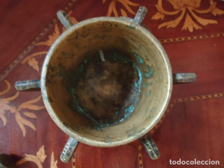 Antigüedades: ALMIREZ. MORTERO DE BRONCE 6 COSTILLAS, MAZA Y ARGOLLA. ANTIQUÍSIMO, SIGLO XVIII. VER FOTOS.2 - Foto 4 - 140779686