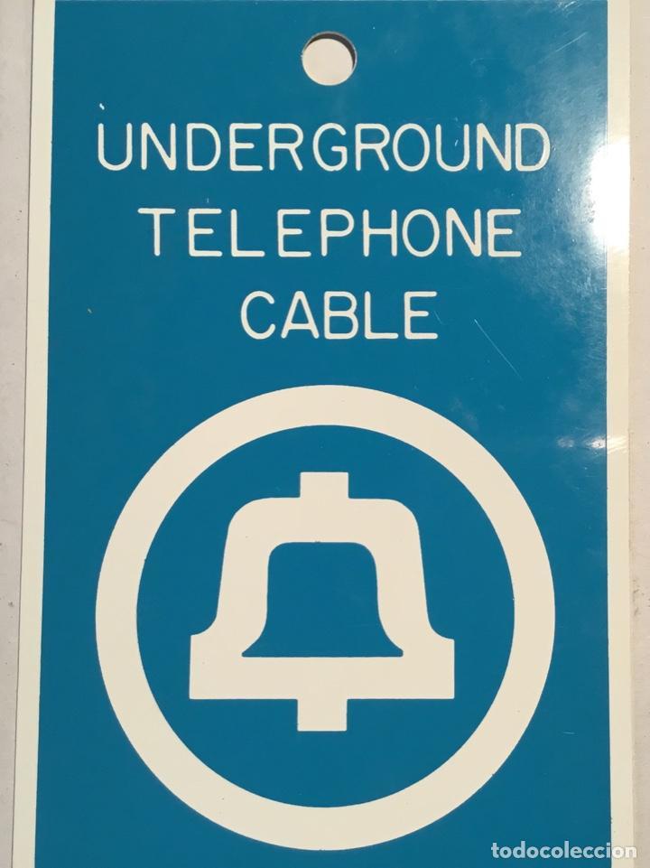 Teléfonos: Antigua placa vintage telefónica Western Electric, señalización trabajos telefónicos subterráneos - Foto 3 - 140838278
