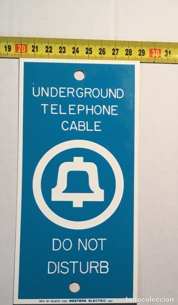 Teléfonos: Antigua placa vintage telefónica Western Electric, señalización trabajos telefónicos subterráneos - Foto 6 - 140838278