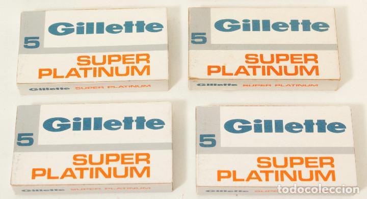 LOTE 4 PAQUETES DE HOJAS DE AFEITAR GILLETTE SUPER PLATINUM. 5 HOJAS CADA. FAB EN ESPAÑA. COLECCIÓN (Antigüedades - Técnicas - Barbería - Hojas de Afeitar Antiguas)