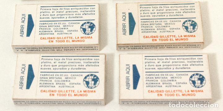 Antigüedades: Lote 4 paquetes de hojas de afeitar Gillette Super Platinum. 5 hojas cada. Fab en España. colección - Foto 2 - 140893518