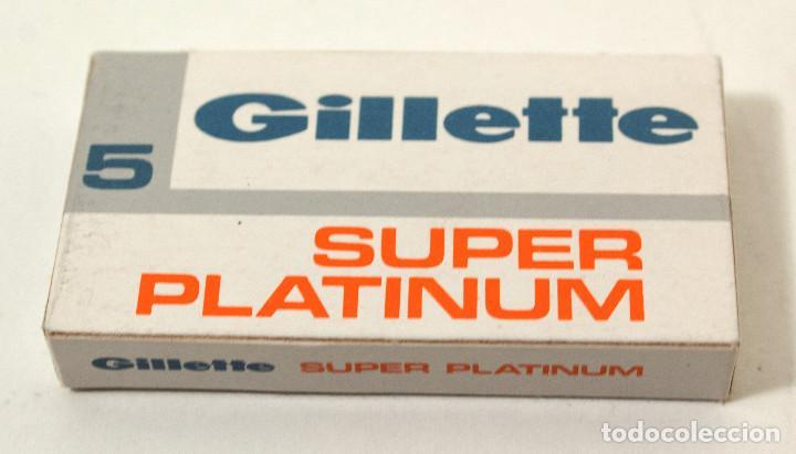 Antigüedades: Lote 4 paquetes de hojas de afeitar Gillette Super Platinum. 5 hojas cada. Fab en España. colección - Foto 3 - 140893518