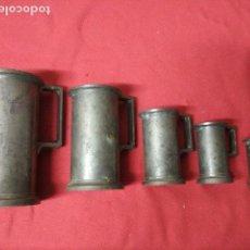 Antiquités: ANTIGUO JUEGO DE MEDIDAS EN ESTAÑO FRANCES. Lote 140912066