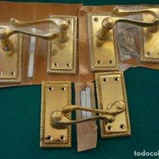 Antigüedades: PICAPORTES 6 POMOS PUERTA DE BRONCE: MEDIDAS 10,5X5CM. Lote 140925966