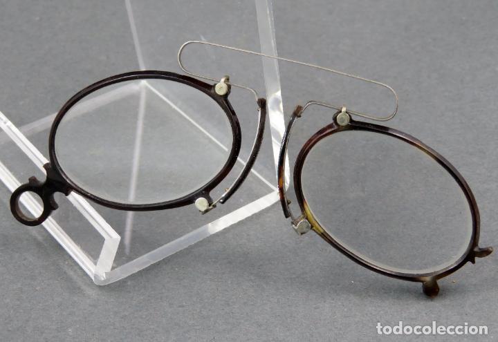 GAFAS QUEVEDOS EN SIMIL CAREY Y METAL BLANCO HACIA 1900 (Antigüedades - Técnicas - Instrumentos Ópticos - Gafas Antiguas)