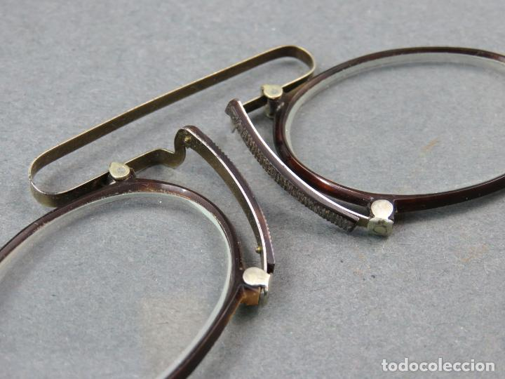Antigüedades: Gafas quevedos en simil carey y metal blanco hacia 1900 - Foto 3 - 141212542