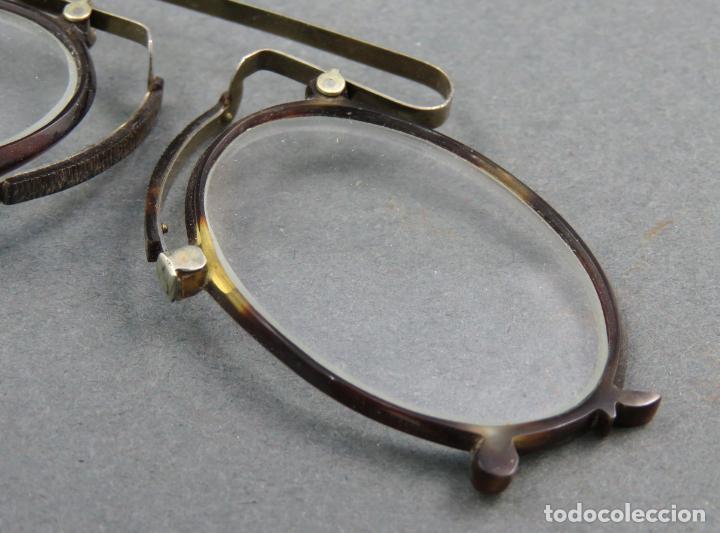 Antigüedades: Gafas quevedos en simil carey y metal blanco hacia 1900 - Foto 5 - 141212542
