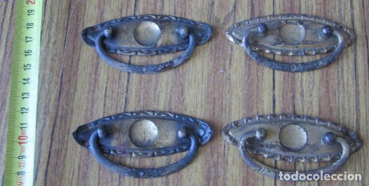 4 TIRADORES DE CHAPA O SIMILAR -- COGEN IMÁN (Antigüedades - Técnicas - Cerrajería y Forja - Tiradores Antiguos)
