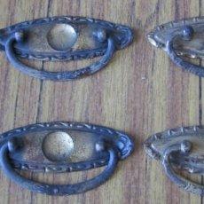 Antigüedades: 4 TIRADORES DE CHAPA O SIMILAR -- COGEN IMÁN . Lote 141258142