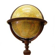 Antigüedades: 1930 - GRAN GLOBO TERRÁQUEO ANTIGUO DE BIBLIOTECA - 100CM. DE ALTURA 50CM. DE DIÁMETRO. Lote 141457182