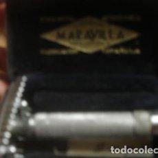 Antigüedades: CAJA METALICA Y MAQUINILLA DE AFEITAR MARCA MARAVILLA - PORTAL DEL COL·LECCIONISTAS ******. Lote 141651094