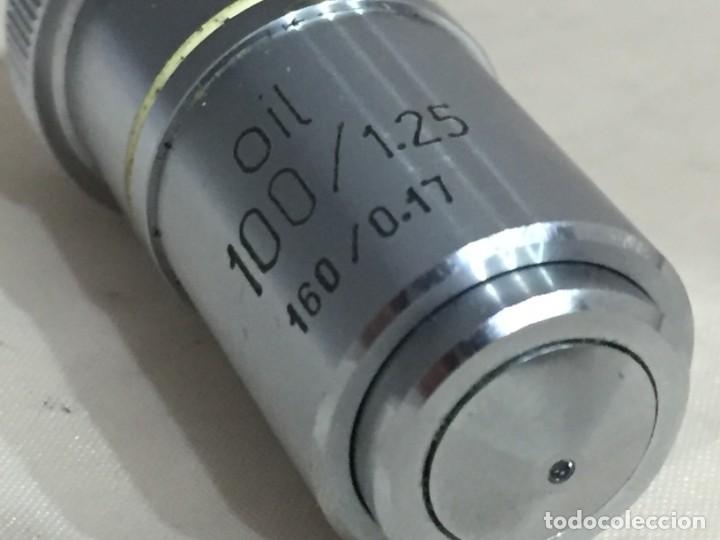 Antigüedades: Objetivo microscopio oil 100/1.25 - 160/0.17 - Foto 5 - 142036498
