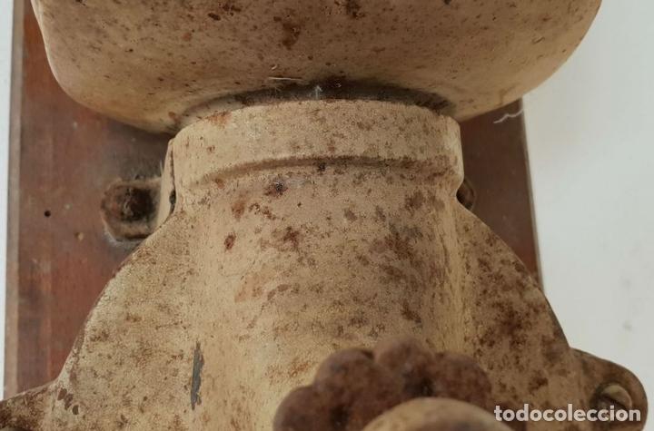 Antigüedades: MOLINILLO DE CAFE DE MURAL. MARCA ELMA. METAL. BASE DE MADERA. CIRCA 1950. - Foto 7 - 142152814