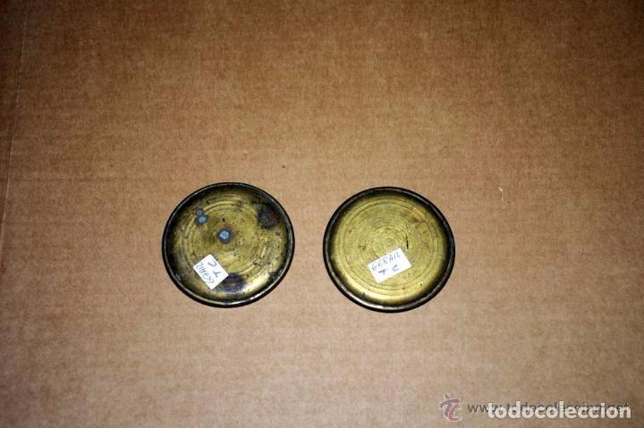 Antigüedades: PLATOS DE BALANZA DE LATON DE 7,1 CMS. DE DIAMETRO - Foto 2 - 142179302