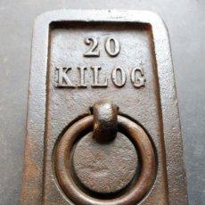 Antigüedades: PESA RECTANGULAR DE 20 KG. Lote 142198686