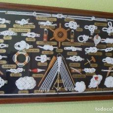Antigüedades: CUADRO DE NUDOS MARINOS AÑOS 80 REALIZADO POR MILITAR NAVAL DE CARTAGENA GRAN CALIDAD. Lote 142250482