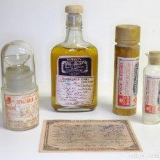 Antigüedades: 1920/1933 - LEY SECA (PROHIBICIÓN) EEUU - CONJUNTO DE EXHIBICIÓN RECETA, BOTELLA DE WHISKY Y FRASCOS. Lote 142502498