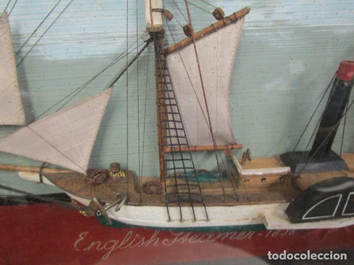 Antigüedades: CUADRO CON MAQUETA CORTE LONGITUDINAL DE VAPOR INGLES DE 1838 50x38x7cm, 2.8kg + info 1s - Foto 3 - 142599182