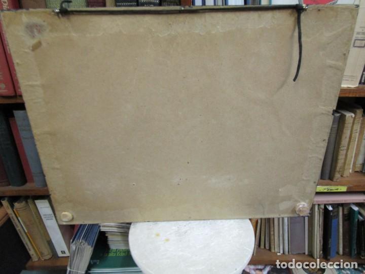 Antigüedades: CUADRO CON MAQUETA CORTE LONGITUDINAL DE VAPOR INGLES DE 1838 50x38x7cm, 2.8kg + info 1s - Foto 4 - 142599182