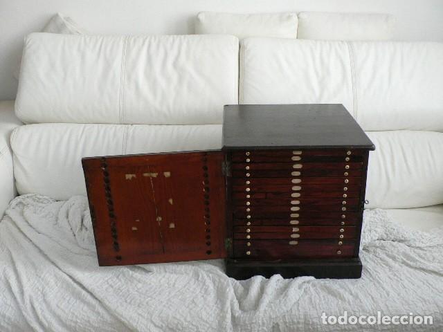 Antigüedades: MICROSCOPIO, CABINET PARA PREPARACIONES MICROSCÓPICAS c. 1880 - Foto 5 - 142601034