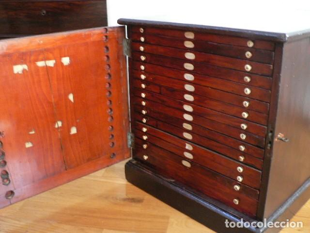 Antigüedades: MICROSCOPIO, CABINET PARA PREPARACIONES MICROSCÓPICAS c. 1880 - Foto 26 - 142601034