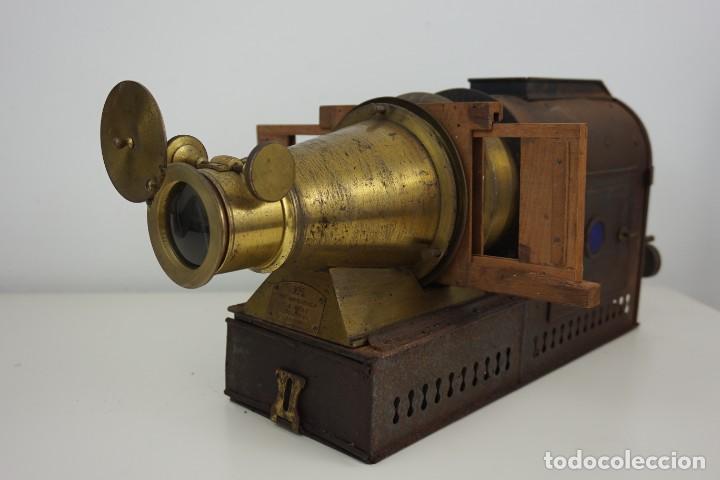 ANTIGUA LINTERNA MÁGICA FIRMADA E.G WOOD 'THE EUPHANERON' C. 1861-1898 (Antigüedades - Técnicas - Aparatos de Cine Antiguo - Linternas Mágicas Antiguas)