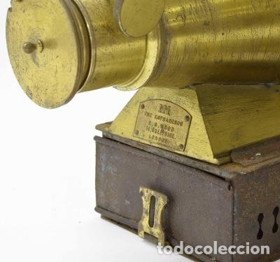 Antigüedades: ANTiGUA LINTERNA MÁGICA firmada E.G WOOD 'THE EUPHANERON' c. 1861-1898 - Foto 2 - 142602970