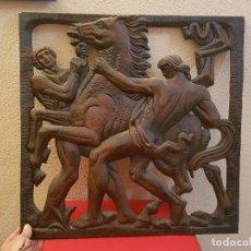 Antigüedades: ANTIGUA GRAN PLACA RELIEVE CUADRO ZAMAK BRONCE COBRE MUY PESADO IMAGEN ESCULTURA FUNDICION DECORA. Lote 142803974