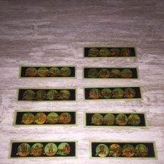 Antigüedades: PLACAS CRISTAL - CRISTALES PELÍCULA COLOR LINTERNA MÁGICA COLOR GRANDES. Lote 143182394