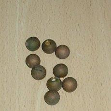 Antigüedades: 9 BOLITAS DE BRONCE CON ROSCA PARA REMATES.14 MM.. Lote 143226450