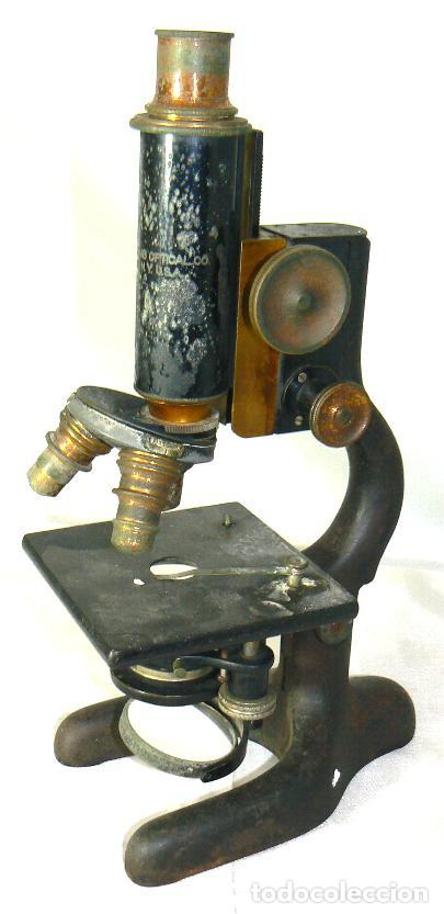 Antigüedades: Antiguo microscopio BAUSCH & LOMB de latón con tres lentes intercambiables - Foto 3 - 143303322