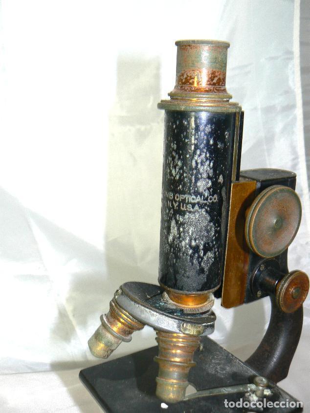 Antigüedades: Antiguo microscopio BAUSCH & LOMB de latón con tres lentes intercambiables - Foto 6 - 143303322