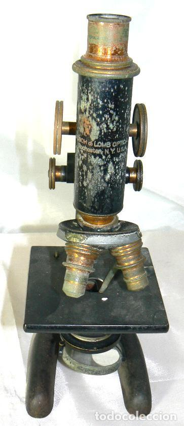 Antigüedades: Antiguo microscopio BAUSCH & LOMB de latón con tres lentes intercambiables - Foto 7 - 143303322
