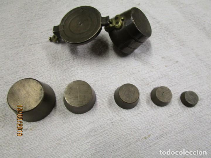 Antigüedades: JUEGO DE PONDERALES ANIDADOS, EN BRONCE, PESO METALES PRECIOSOS, FINALES XIX +INFO Y FOTOS 1s - Foto 2 - 143313850