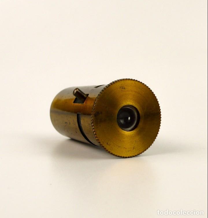 Antigüedades: Microscopio de campo o biología - latón dorado- Ca.1900 - Foto 3 - 143385294