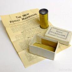 Antigüedades: 1900C MICROSCOPIO DE BOLSILLO CON CAJA ORIGINAL E INSTRUCCIONES. Lote 143684010