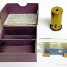 Antigüedades: 1900C MICROSCOPIO DE BOLSILLO CON CAJA ORIGINAL, ACCESORIOS E INSTRUCCIONES. Lote 143684470