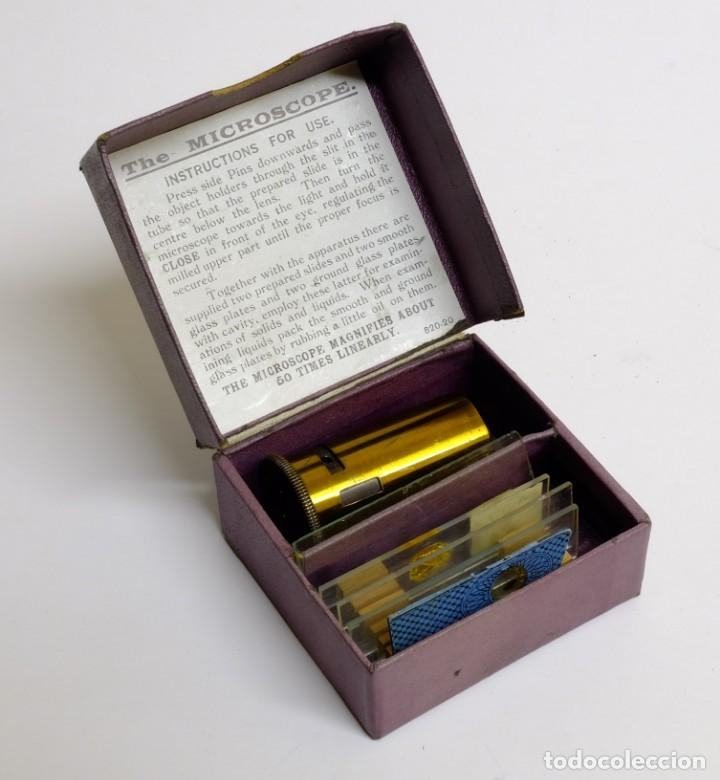 Antigüedades: 1900c Microscopio de bolsillo con caja original, accesorios e instrucciones - Foto 2 - 143684470