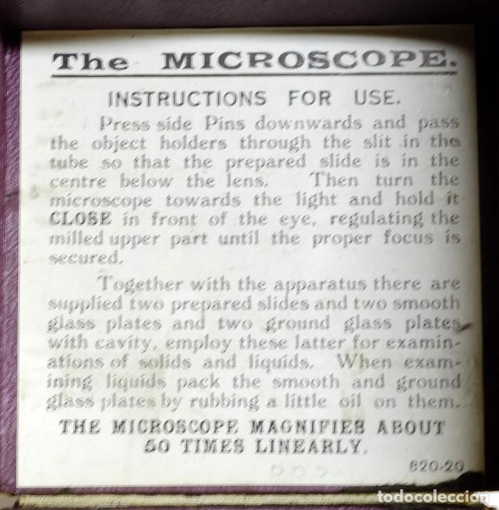 Antigüedades: 1900c Microscopio de bolsillo con caja original, accesorios e instrucciones - Foto 4 - 143684470