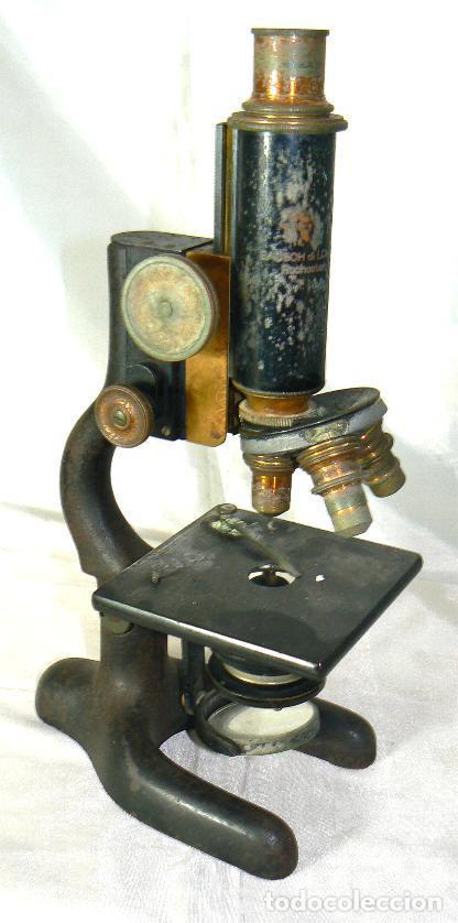 Antigüedades: Antiguo microscopio BAUSCH & LOMB de latón con tres lentes intercambiables - Foto 2 - 143303322