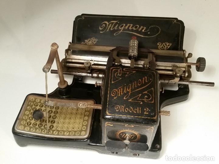 MAQUINA DE ESCRIBIR AEG MIGNON NO.2, AÑO 1.910, FUNCIONA, VER VIDEO (Antigüedades - Técnicas - Máquinas de Escribir Antiguas - Mignon)
