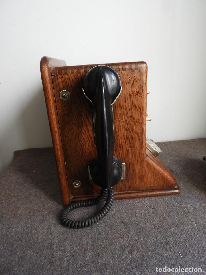 Teléfonos: PRECIOSA CENTRALITA TELÉFONO ANTIGUO COMPLETO EN ROBLE AÑOS 50 - Foto 7 - 144244886