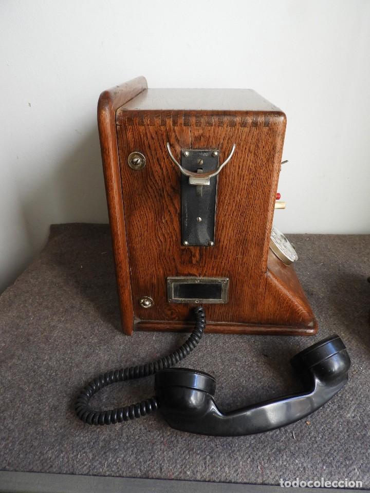 Teléfonos: PRECIOSA CENTRALITA TELÉFONO ANTIGUO COMPLETO EN ROBLE AÑOS 50 - Foto 8 - 144244886