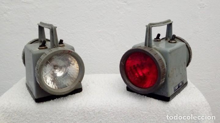 Antigüedades: Dos Linternas Renfe,modelo RR-210 - Foto 4 - 144394970